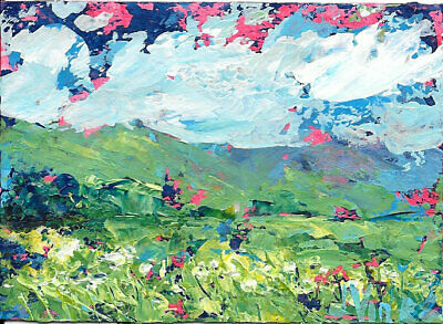 SALE Flowers Mountains Original Abstract Landscape Knife Painting ACEO ART small