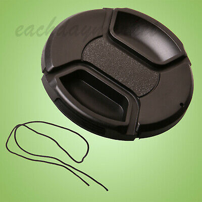 58mm Snap-on Centre Pinch Lens Front Cap with Keeper Black - UK stock