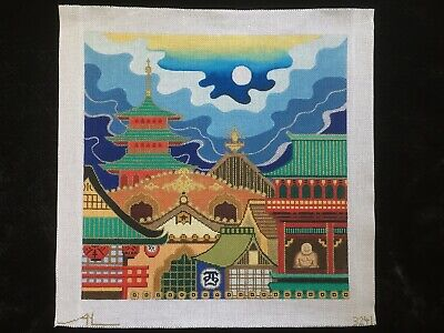 Amanda Lawford Hand-painted Needlepoint Canvas Bright & Colorful Asian Scene