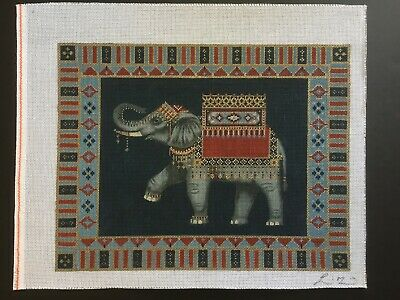Liz Hand-painted Needlepoint Canvas Elephant With Colorful Patterned Border