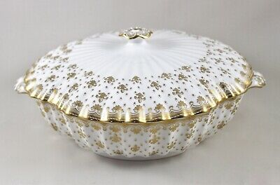 Stunning Spode China England Fleur De Lys Gold Lidded Vegetable Dish/Tureen 1St!