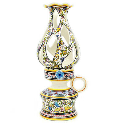 Coimbra Ceramics Hand-painted Decorative Oil Lamp XVII Cent Recreation #107/1-3