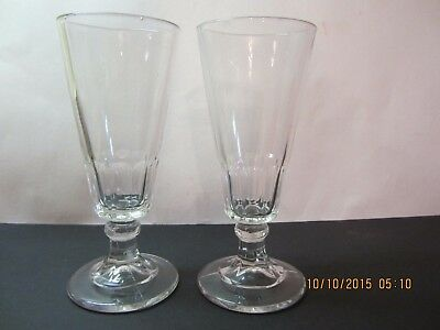 2 Antique Stemware Glasses-Early 1900's To 1800's-Bubbles In Thick Glass