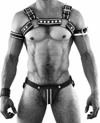 Real Leather Bondage Male Costume Men Body Chest Harness Strap Belts With Jock
