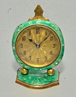 Old Swiss Art Deco Miniature Green Guilloche Enameled Wind Up Clock