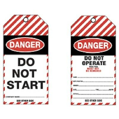 Lockout Tagout DANGER DO NOT START Tearproof Plastic Tag LOTO Tags (PACK OF 25)