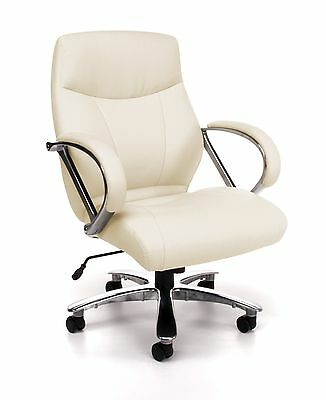 Big & Tall 500 lbs. Capacity Cream Leather Mid Back Executive Office Desk Chair