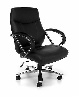 Big & Tall 500 lbs. Capacity Black Leather Mid Back Executive Office Desk Chair