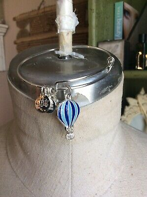 Alex And Ani 2017 We Rise Blue Enamel Hot Air Balloon Bracelet Great Cond.