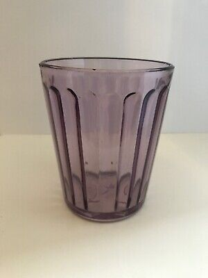 Star Horseshoe Glass Purple Lavender Depression Antique Ribbed Cup Box 9/1