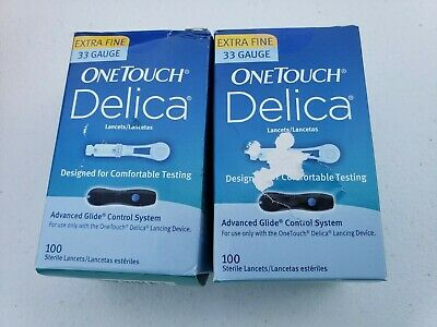 One Touch Delica Extra Fine 33 Gauge 100 Count X 2 Boxes - Exp 2/2023