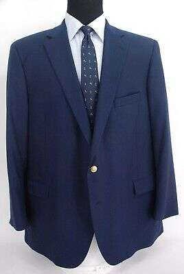 Paul Stuart 2Btn Navy Blue Wool Blazer Center Vent Relaxed 50L