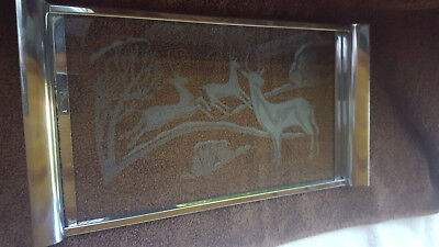 Art Deco Etched Glass Chrome Three Deer In The Woods Serving Tray NICE !