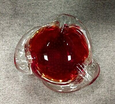 Beautiful Murano Venetian Italian Art Glass Ashtray Red/Suspended Bubbles