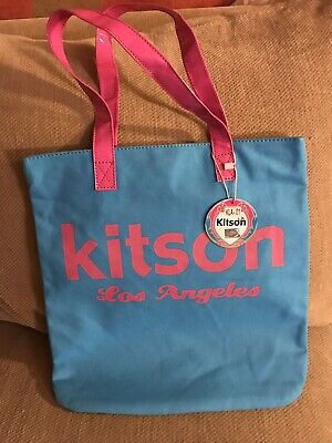 New Blue W/ Pink Bag Tote Purse Canvas Material Kitson Los Angeles with tags