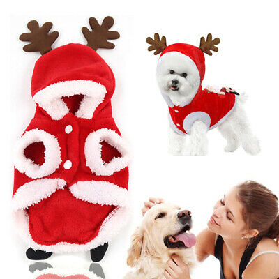 Christmas Pet Puppy Outfit Xmas Reindeer Dog Costume Cat Hoodie Clothes Coat UK
