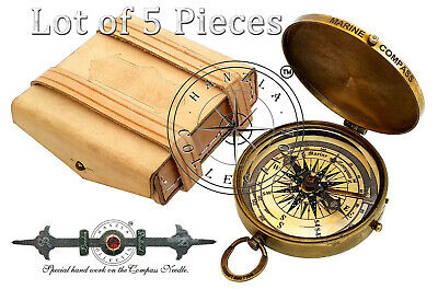 Lot of 5 Pieces ''Robert Frost Poem'' Embossed Needle Engraved Brass Compass 3""