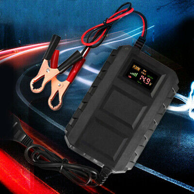 Car Battery Lead Lithium Charger Automobile Motorcycle 12V 20A LCD Screen Black