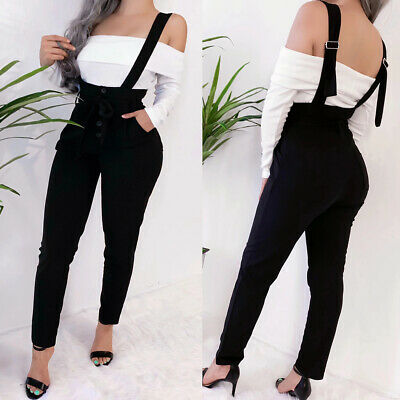 US Womens Denim Jumpsuit Dungarees Overalls Straps High Waist Bib Jeans Trousers