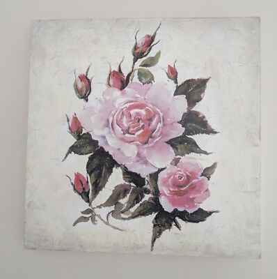 Roses Flowers French Shabby Chic Canvas Wall Art, Box Frame Home Decor