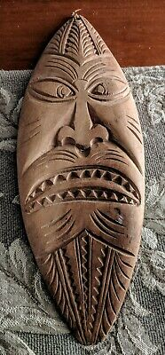 Vintage, 70's Hand carved, Tribal Warrior Man Cave Bar Wooden Wall Art  Hanging