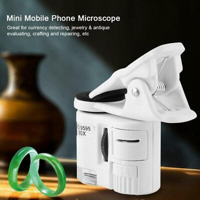 60x Mini Loupe Magnifier Microscope For Universal Phone With LED UV Light v