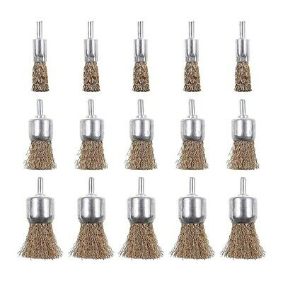 15 Pack Brass Coated Wire Brush Wheel & Cup Brush Set with 1/4 Inch Shank, C6P7