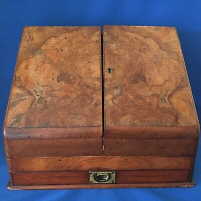 English Early Victorian Burr Walnut on Mahogany Stationary Box Scribe's Desk