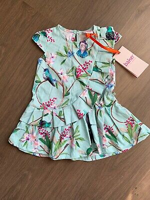 New Ted Baker Baby Girls Floral Dress Size 6-9 Months 100% Cotton