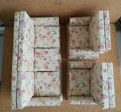 Old Three Piece Suite for 1/12 scale dolls house furniture sofa settee