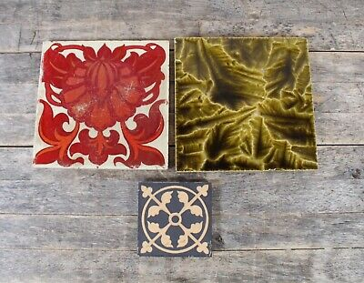 Three Antique Craven & Dunhill Tiles To Include Lustre And Majolica Examples.