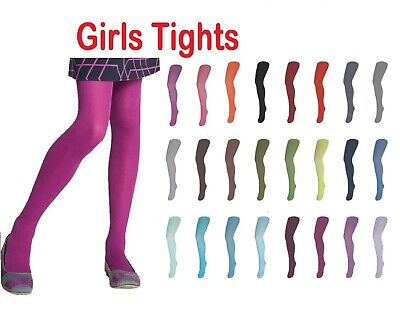 Girls Kids Tights Plain Soft School Cotton Rich Age 1-11 Years Colours