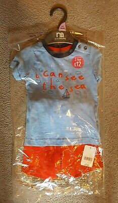 BNWT Mothercare Baby Boys Blue Sea/Boat T-Shirt & Red Shorts Set Age 6-9 Months