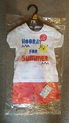 BNWT Mothercare 2 Piece Baby Boys T-Shirt & Shorts Outfit Set Age 3-6 Months