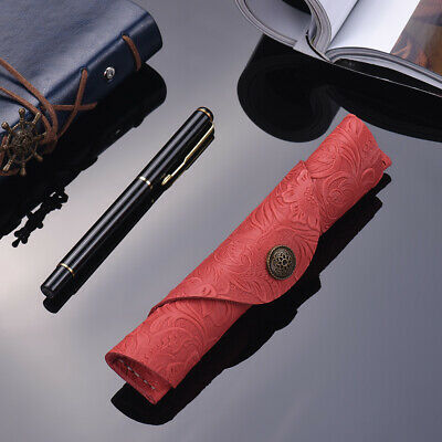 Antique Leather Pen Case Fountain Handmade Sleeve Bag Pouch Protector for H6G3