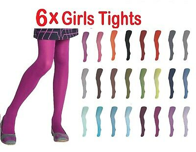 6x New Girls Tights Plain Opaque Colours Cotton Rich School Kids 1-11Years