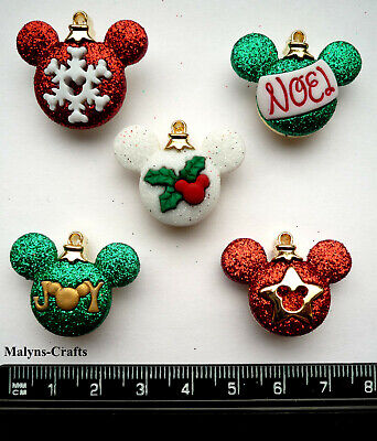 Disney MICKEY ORNAMENTS Novelty Craft Buttons Christmas Decoration Tree Baubles