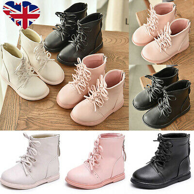 Girls Kids PU Chelsea Martin Shoes Child Bowknot School Princess Ankle Boots UK
