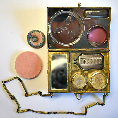 Rare! 1920s Guilloche Compact Dance Purse **Complete with All Components** EXC!!