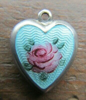VINTAGE Sterling Silver BLUE ENAMEL Puffy Heart Charm~Guilloche Rose
