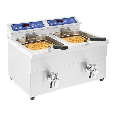 Friteuse A Induction Inox Electrique 2 X 3 500 W 2X10 L Huile 60-190° Minuterie