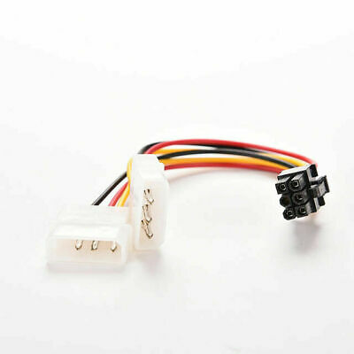 Dual 4 Pin Molex IDE to 6 Pin PCI-E Graphic Card Power Connector Cable Adapter