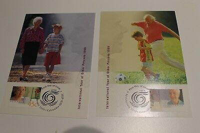 Mint 1999 International Year Of The Older Persons 99 Stamp Maxi Card Set Of 2
