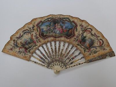 Antiker Fächer vergoldet c1780 antike Rokoko Malerei old fan eventail abanico