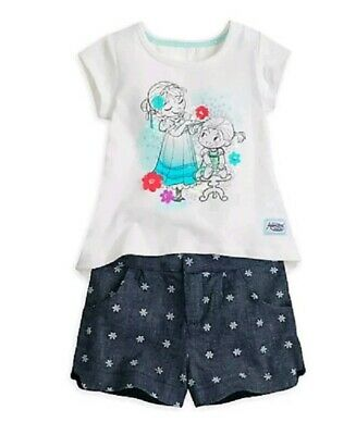 Disney Store Animators FROZEN top and shorts Set Bnwt 3-4