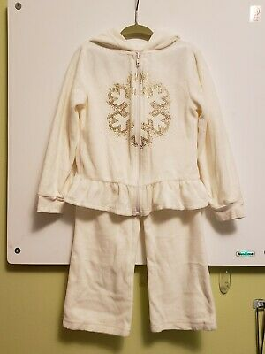 Healthtex Toddler Girls Off White Track Suit Pants & Jacket w Snowflake Size 4T