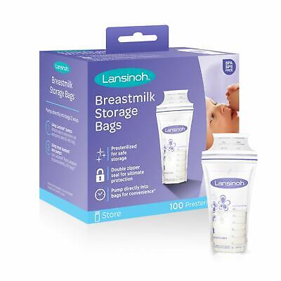 Lansinoh Breastmilk Storage Bags, 100 Count (1 Pack of 100 Bags), Milk Freezer..