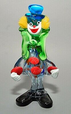 "Vintage Italian Murano Multicolored Glass Clown Figurine w/ Blue Hat 8-3/4"" Tall"