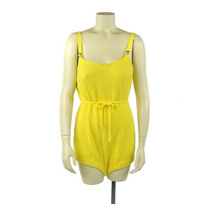 Vintage 60s Catalina Mod Yellow Abstract Diamond One Piece Swimsuit Bathing Suit