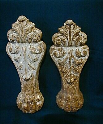Two Tall Antique Vintage Cast Iron Claw Foot Bathtub Legs Four Toes